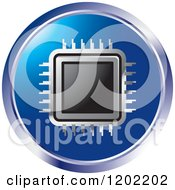 Clipart Of A Round Computer Processor Chip Icon Royalty Free Vector Illustration