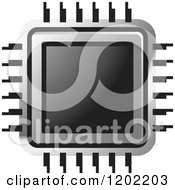 Clipart Of A Computer Processor Chip Icon Royalty Free Vector Illustration