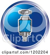 Clipart Of A Round Computer Vga Socket Icon Royalty Free Vector Illustration