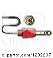 Clipart Of A Computer Audio Auxillery Socket Icon Royalty Free Vector Illustration