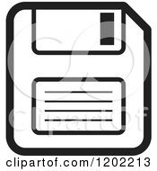 Clipart Of A Black And White Computer Floppy Disk Icon Royalty Free Vector Illustration by Lal Perera