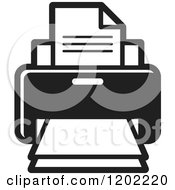 Clipart Of A Black And White Desktop Computer Printer Icon Royalty Free Vector Illustration by Lal Perera