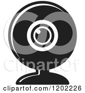 Clipart Of A Black And White Computer Web Cam Icon Royalty Free Vector Illustration