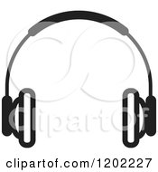 Clipart Of A Black And White Wireless Computer Headphone Icon Royalty Free Vector Illustration by Lal Perera