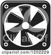 Clipart Of A Black And White Computer Cooling Fan Icon Royalty Free Vector Illustration