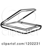 Clipart Of A Black And White Computer Flatbed Scanner Icon Royalty Free Vector Illustration