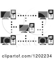 Clipart Of A Black And White Computer Network Icon Royalty Free Vector Illustration
