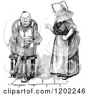 Clipart Of A Vintage Black And White Old Couple And Nagging Wife Royalty Free Vector Illustration by Prawny Vintage