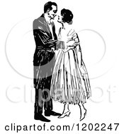 Clipart Of A Vintage Black And White Kissing Couple Royalty Free Vector Illustration by Prawny Vintage