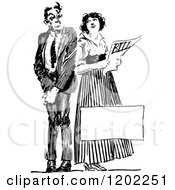 Clipart Of A Vintage Black And White Couple Holding A Bill With Copyspace Royalty Free Vector Illustration