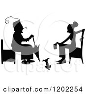 Vintage Black And White Silhouetted Women Sitting