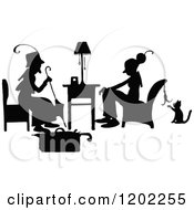 Vintage Black And White Silhouetted Ladies Talking