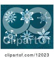 6 Snowflake Designs Clipart Illustration