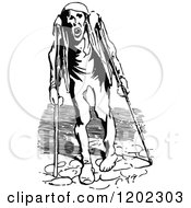 Clipart Of A Vintage Black And White Crippled Man With Crutches Royalty Free Vector Illustration