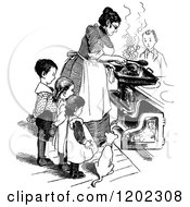 Vintage Black And White Mother And Children Cooking