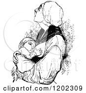 Clipart Of A Vintage Black And White Mother Breast Feeding Her Baby Royalty Free Vector Illustration by Prawny Vintage