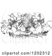 Clipart Of Vintage Black And White Children With Pots Royalty Free Vector Illustration by Prawny Vintage