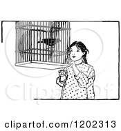 Clipart Of A Vintage Black And White Girl And Pet Bird Royalty Free Vector Illustration