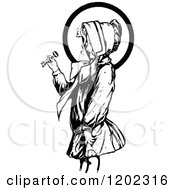 Clipart Of A Vintage Black And White Oz Girl Royalty Free Vector Illustration by Prawny Vintage