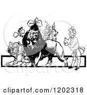 Clipart Of A Vintage Black And White Oz Tiger Lion And Characters Royalty Free Vector Illustration by Prawny Vintage