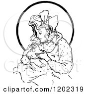 Clipart Of A Vintage Black And White Oz Girl With A Hen Royalty Free Vector Illustration by Prawny Vintage
