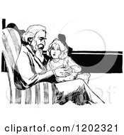 Clipart Of A Vintage Black And White Oz Girl And Grandpa Royalty Free Vector Illustration by Prawny Vintage