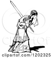 Clipart Of A Vintage Black And White Sad Girl Holding A Sword Royalty Free Vector Illustration by Prawny Vintage