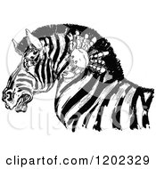 Clipart Of A Vintage Black And White Emerald Oz Crab And Zebra Royalty Free Vector Illustration by Prawny Vintage