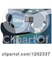 Clipart Of Workers And A Man At An Airport Check In Counter Royalty Free Vector Illustration