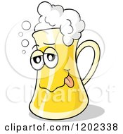 Cartoon Of A Drunk Beer Mug With Froth Royalty Free Vector Clipart by Holger Bogen