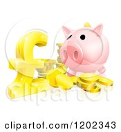 Cartoon Of A Piggy Bank With Gold Coins And A Pound Sterling Symbol Royalty Free Vector Clipart by AtStockIllustration
