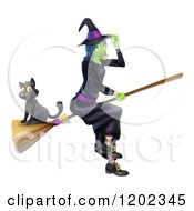 Cartoon Of A Green Halloween Witch Tipping Her Hat And Flying With A Cat On A Broomstick Royalty Free Vector Clipart