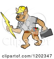Cartoon Of A Pit Bull Electrician Dog Holding A Bolt And Tool Box Royalty Free Vector Clipart by LaffToon