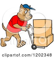 Cartoon Of A Pit Bull Dog Using A Dolly To Push Moving Boxes Royalty Free Vector Clipart