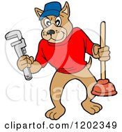 Cartoon Of A Pit Bull Plumber Dog Holding A Wrench And Plunger Royalty Free Vector Clipart by LaffToon