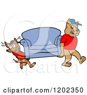 Cartoon Of Pit Bull And Chihuahua Mover Dogs Carying A Sofa Royalty Free Vector Clipart
