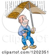 Cartoon Of A Happy White Roofer Man Holding A Roof Umbrella Under Raindrops Royalty Free Vector Clipart
