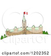 Cartoon Of Parliament Buildings With A Canadian Flag Royalty Free Vector Clipart by LaffToon