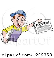 Cartoon Of A Happy Paper Boy Holding Up An Extra Newspaper Royalty Free Vector Clipart