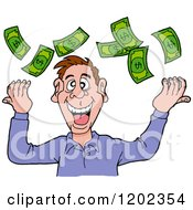 Cartoon Of A Happy White Man Throwing Cash Money Up Into The Air Royalty Free Vector Clipart