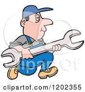 Cartoon Of A White Worker Man Running With A Giant Wrench Royalty Free Vector Clipart