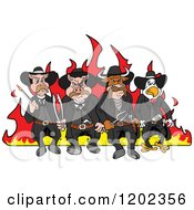Cartoon Of Tough Cow Rooster And Pig Lawmen Walking In Front Of Flames With Bbq Tools Royalty Free Vector Clipart by LaffToon