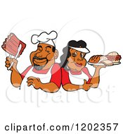 Cartoon Of A Happy Black Chef Couple Holding Ribs And A Plate Of Bbq Foods Royalty Free Vector Clipart