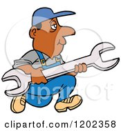 Cartoon Of A Black Worker Man Running With A Giant Wrench Royalty Free Vector Clipart