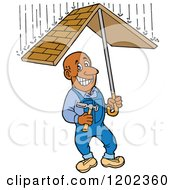 Cartoon Of A Happy Black Roofer Man Holding A Roof Umbrella Under Raindrops Royalty Free Vector Clipart