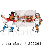 Cartoon Of A Happy Black Magician Chef Man And Lady Presenting A Bbq Meat Display Royalty Free Vector Clipart
