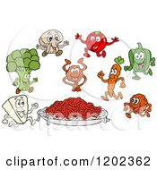 Cartoon Of A Plate Of Spaghetti Noodles And Sauce With Ingredient Characters Royalty Free Vector Clipart