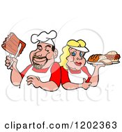 Cartoon Of A Happy White Chef Couple Holding Ribs And A Plate Of Bbq Foods Royalty Free Vector Clipart