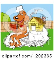 Cartoon Of A Happy Hound Dog Chef Eating Ribs On A Pile Of Bones By His House A Pig Hiding Royalty Free Vector Clipart