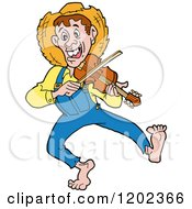 Cartoon Of A Happy Hillbilly Man Dancing And Playing A Fiddle Royalty Free Vector Clipart